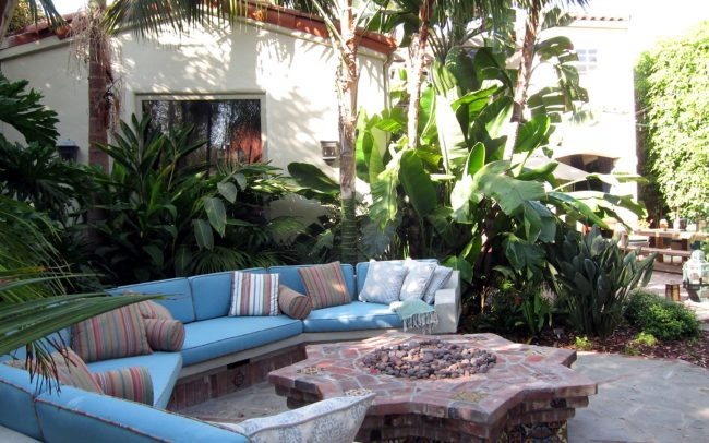 Cushioned seating around fire pit