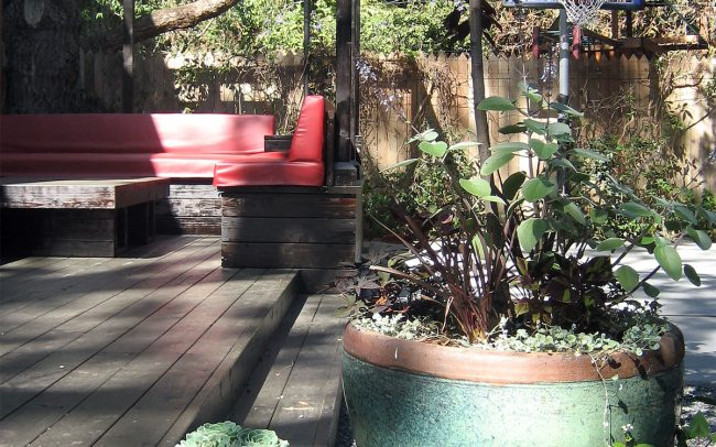 Canyon Family Playground: Plantings in glazed pots