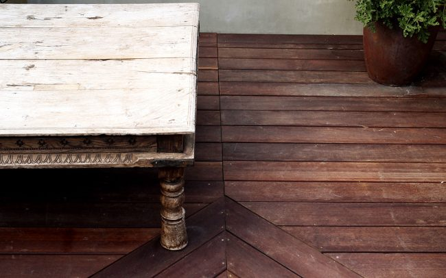 Roof deck with mangaris wood