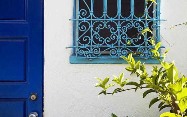 Tunisian window grill and blue door