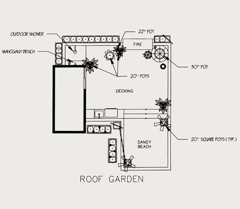 Exterior design sketch - roof level