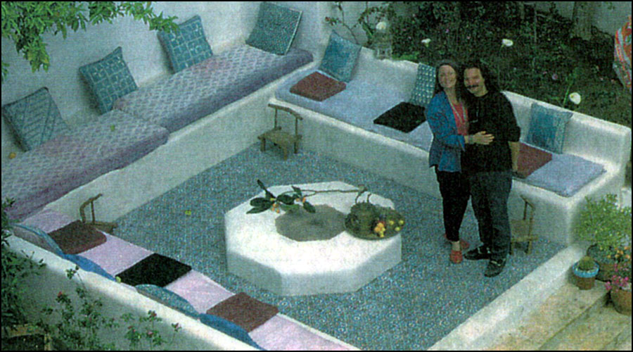 Laura Morton and Jeff Dunas in their Morocco-inspired backyard