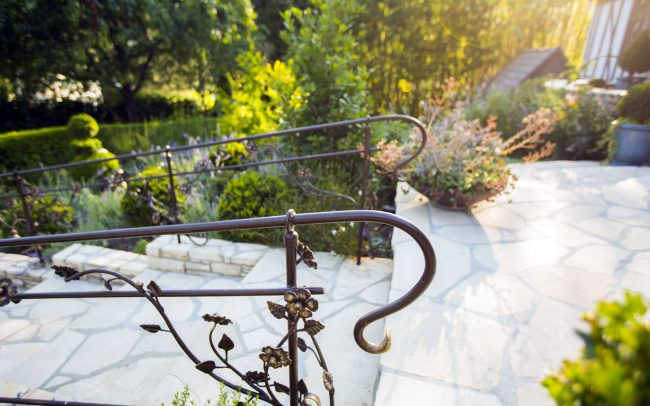 Floral wrought iron railings
