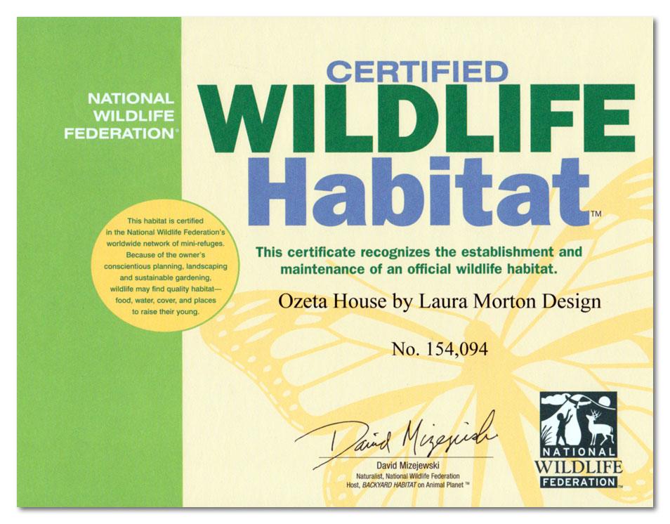 National Wildlife Federation 2012 Habitat Certificate
