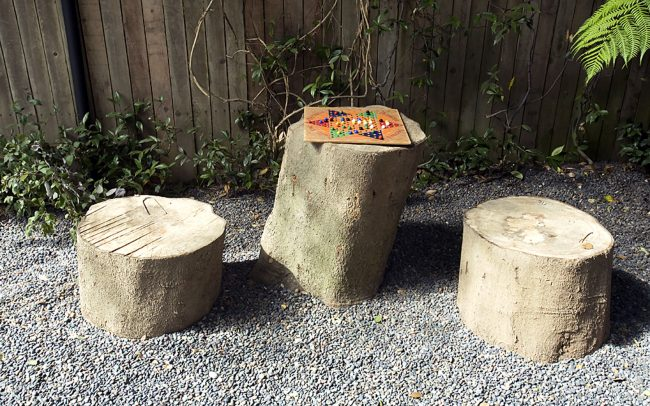 Canyon Family Playground: tree trunk table & stools