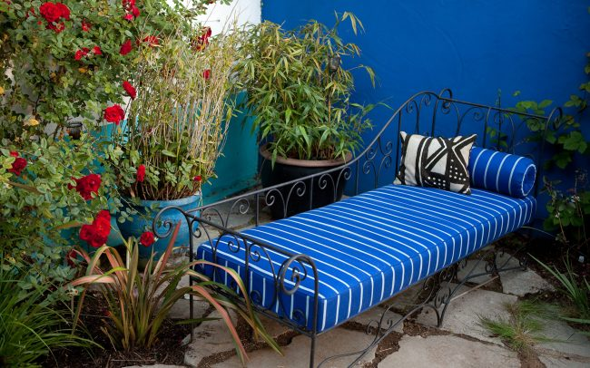 Blue striped chaise