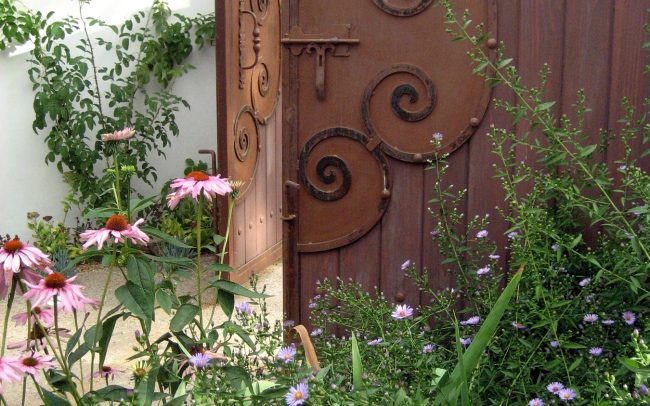 Driveway gate and flowers