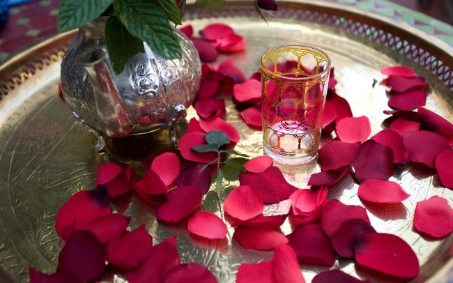 Tea table - silver tray with rose petals