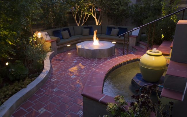 Seating area with fire pit and fountain