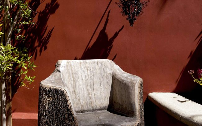 Sculpted tree trunk chair