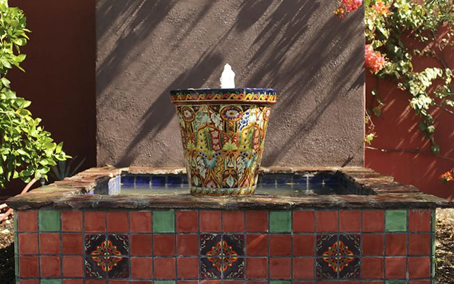Tiled Talevera fountain