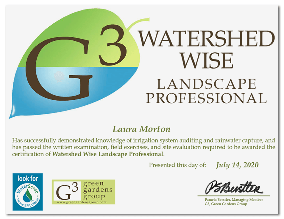 July 2020 Watershed Wise Certificate from G3 Green Gardens Group
